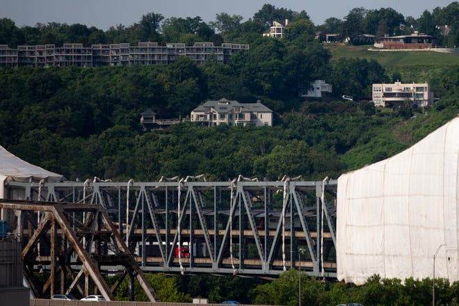 A view of the Brent Spence Bridge on Thursday, July 15, 2021, in Cincinnati. The tarp covering a section of the bridge has been removed during construction.