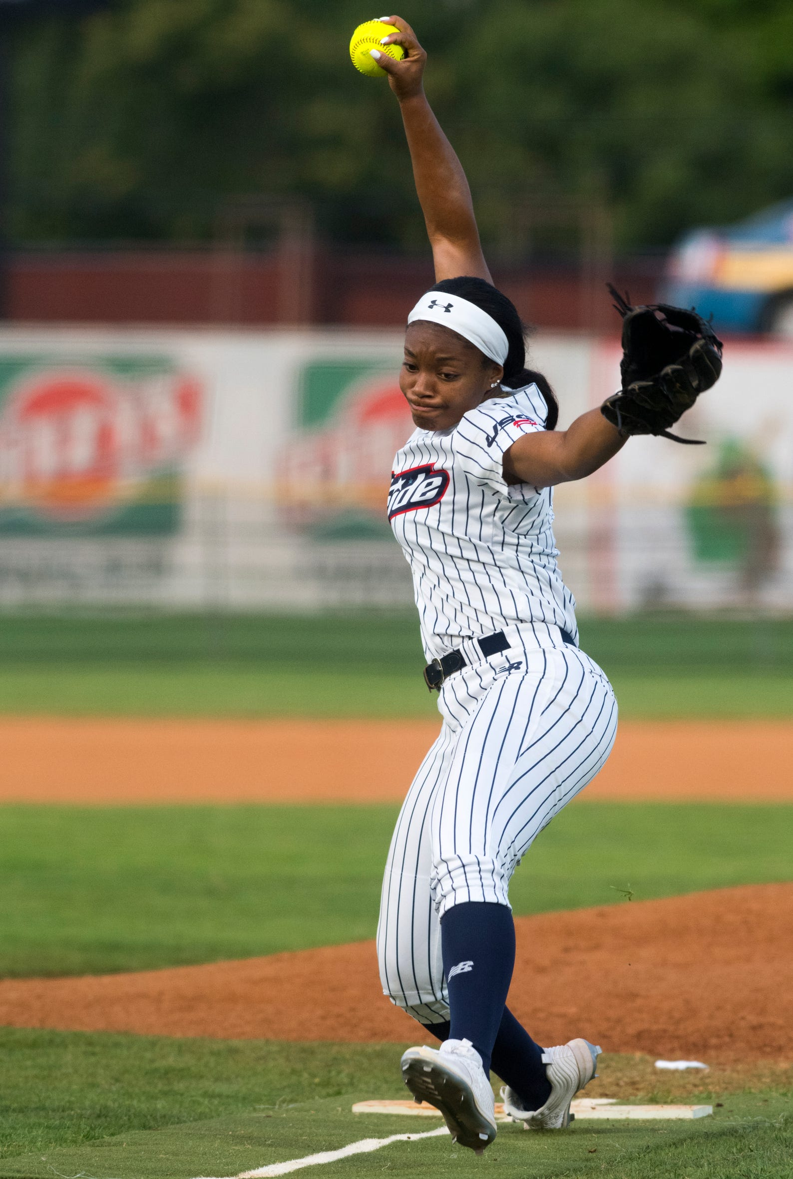 USSSA Pride's Odicci Alexander (1) pitches as the USSSA Pride takes on Team Florida in an exhibition game at Bosse Field in Evansville, Ind., Wednesday evening, July 14, 2021.