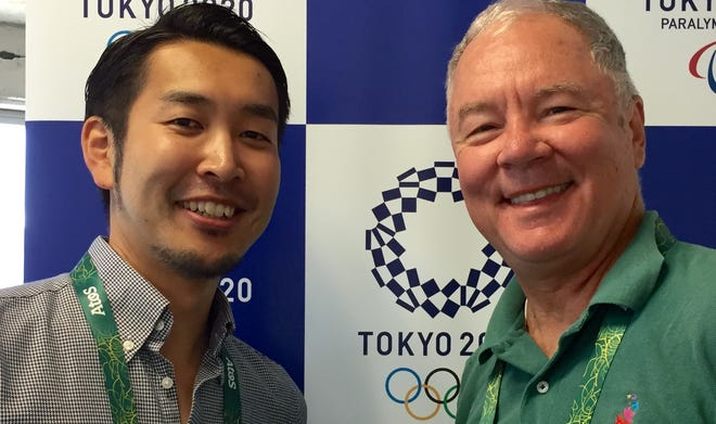 Tatsuo Ogura, left, is director of international communications for the Tokyo Olympics and an Indiana State graduate. At right is David Woods, Olympics beat writer for IndyStar, at Rio 2016.