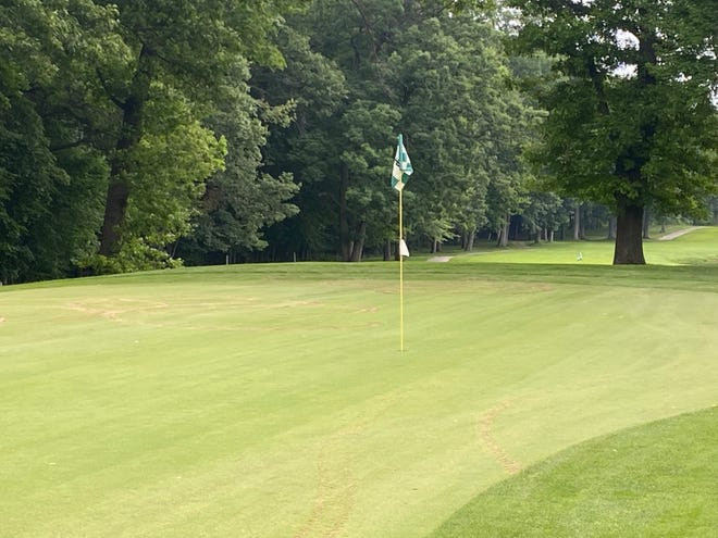 The 17th hole at Dunham Hills Golf Club has been repaired well enough to be used for golf after damage was inflicted from a four-wheeler Sunday night.