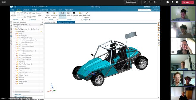 Siemens Digital Industries Software interns from Brighton High School discuss the design of an electric car over Microsoft Teams.