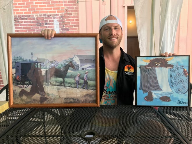 Bryan McHenry of The Phoenix Brewing Co. shows off his monster art submission (left) of Big Foot in a landscape painting. His wife, Nicole McHenry, drew a cute monster behind the clothesline. Anyone can participate in Field of Monsters. Drop-off is Aug. 23-24 in the beer garden at The Phoenix Brewing Co., 131 N. Diamond St. Preregistration is required.