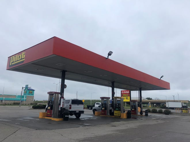 """A Pilot Travel Center, 13712 Northwestern Ave., Franksville, is seen Thursday, July 15, 2021. The gas station is located just off Interstate 94 in rural Racine County. A Hartland man shot and killed 22-year-old Anthony """"Nino"""" Griger of Elkhorn while Griger was pumping gas Tuesday morning. He also attempted three carjackings and shot at an undercover officer at a gas station two miles away, injuring him, before shooting himself in the head."""