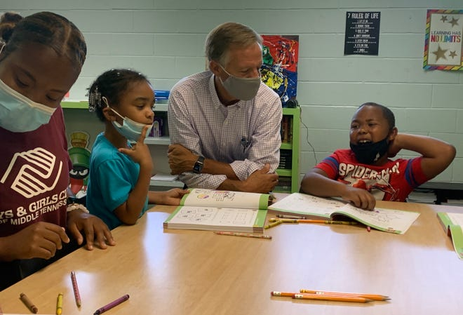 Former Tennessee Gov. Bill Haslam Visits with children at the Cleveland Park Boys and Girls Club on Thursday, July 15, 2021.