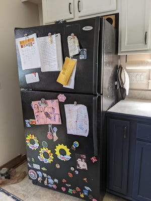 """Abbey's old fridge """"Whirley"""" was laid to rest recently, forcing the Roys to begin the challenging search for a new appliance."""