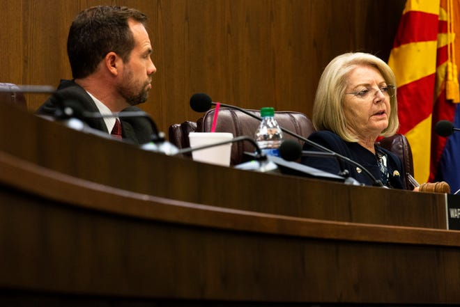 From left, state Sen. Warren Petersen and Senate President Karen Fann attend a Senate hearing in Phoenix on July 15, 2021, about the progress of the election audit for Maricopa County results.