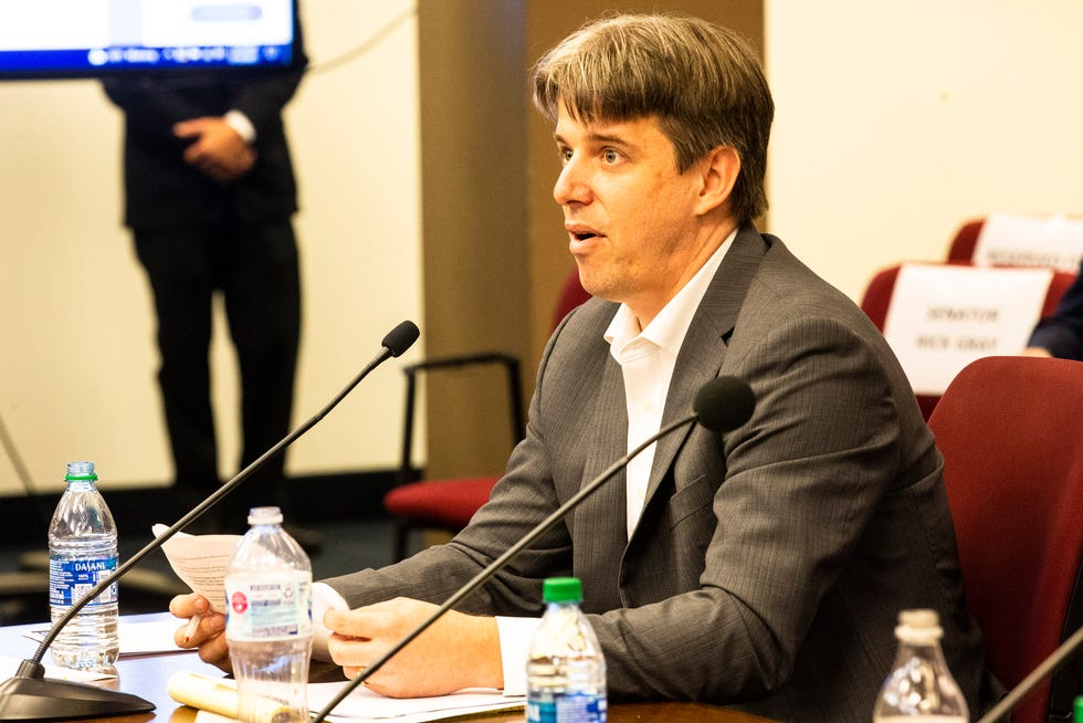 Cyber Ninjas CEO and audit leader Doug Logan testifies at the Senate hearing on the progress of the election audit in Maricopa County at the Arizona Senate in Phoenix on July 15, 2021.