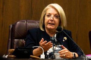 Senate President Karen Fann at the Senate hearing on the progress of the election audit in Maricopa County at the Arizona Senate in Phoenix on July 15, 2021.