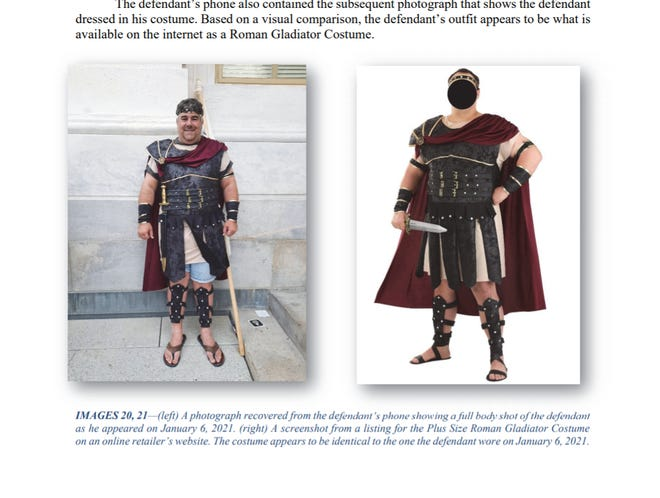 A photo of Nathan Entrekin dressed in a gladiator costume during the raid on the U.S. Capitol on Jan. 6 was included in an affidavit from the FBI filed with a criminal complaint against him.