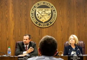 Sen. Warren Petersen and Senate President Karen Fann at the Senate hearing on the progress of the election audit in Maricopa County at the Arizona Senate in Phoenix on July 15, 2021.