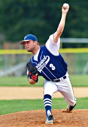 East Prospect's Terry Godfrey pitches against Hallam during Susquehanna League baseball action at Hallam Express Field in Hallam, Wednesday, July 14, 2021. East Prospect would win the game 6-3. Dawn J. Sagert photo
