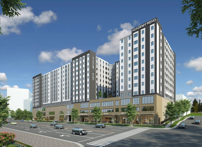 A rendering of The Academy at Reno student housing project near the University of Nevada, Reno.