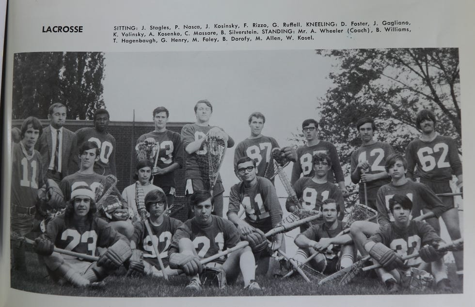 Gary Henry played lacrosse for Franklin High School's team.  He's seen here, standing center, with his 1970 team.