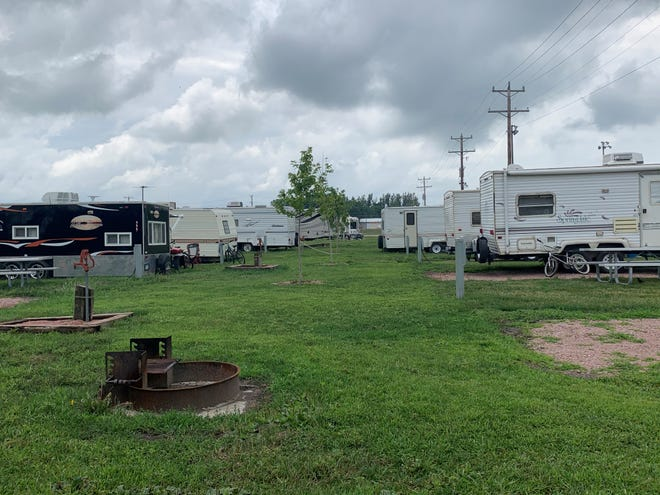 The Dell Rapids Campground near Rickeman Field is partially full on Wednesday, July 15.