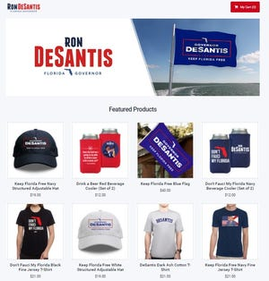 Florida Gov. Ron DeSantis' official website posted merchandise which takes aim at masks and White House medical adviser Dr. Anthony Fauci.