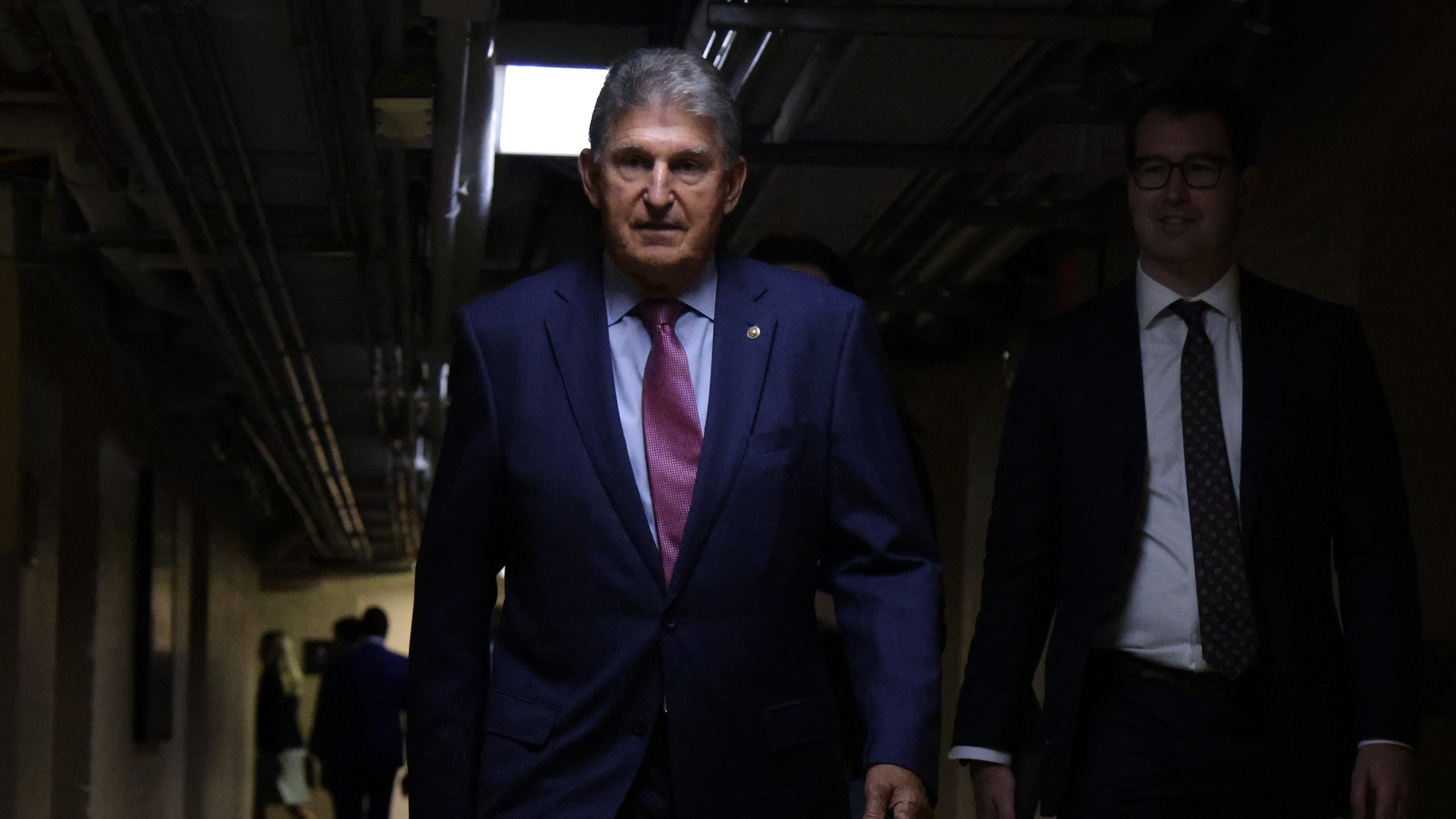 WASHINGTON, DC - JULY 15: U.S. Sen. Joe Manchin (D-WV) arrives at a meeting with members of Texas House Democratic Caucus at the U.S. Capitol Thursday. the Texas lawmakers are meeting senators to discuss voting rights.