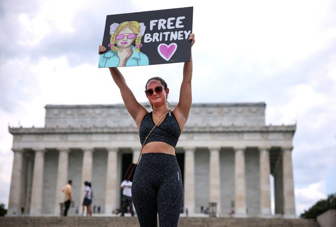 A supporter of pop star Britney Spears participates in a #FreeBritney rally at the Lincoln memorial on July 14, 2021 in Washington, DC.