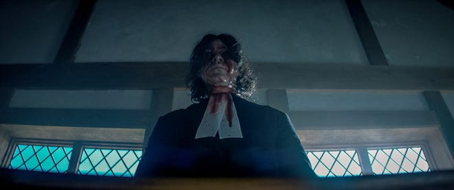 """One of the most disturbing scenes in """"Fear Street Part 3: 1666"""" by Cyrus Miller (Michael Chandler), aka the Pastor, is a 17th-century church figure."""