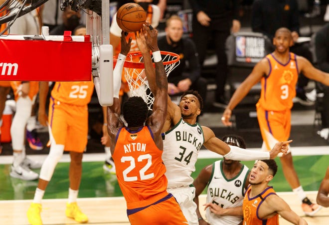 Giannis Antetokounmpo's block on Deandre Ayton in Game 4 was a signature moment.