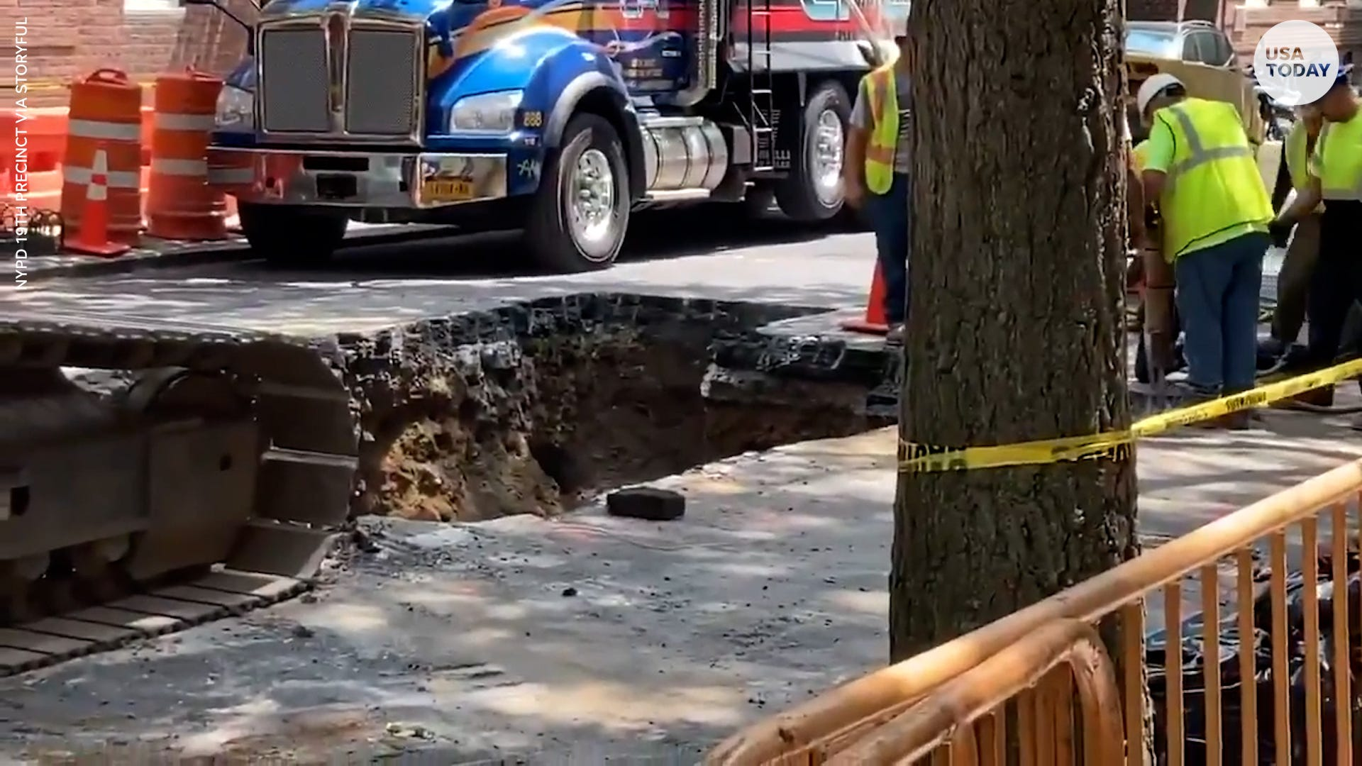 Giant sinkhole opens up in NYC, crews work to repair