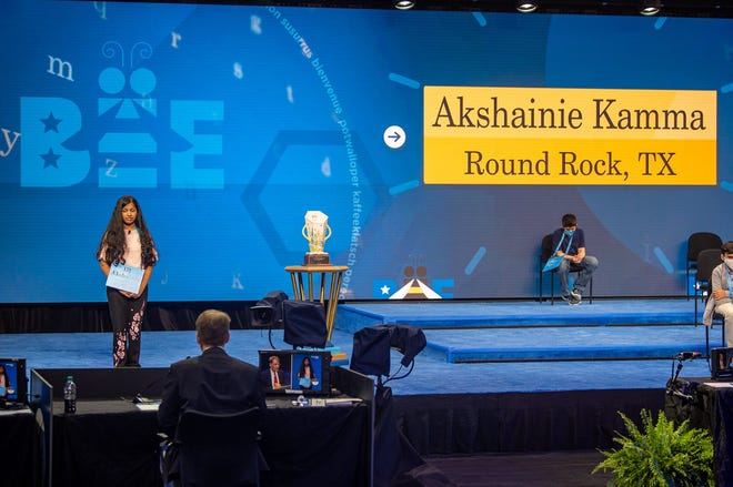 Round Rock seventh grader Akshainie Kamma competes in the finals of the Scripps National Spelling Bee in Orlando, Fla., on July 9.