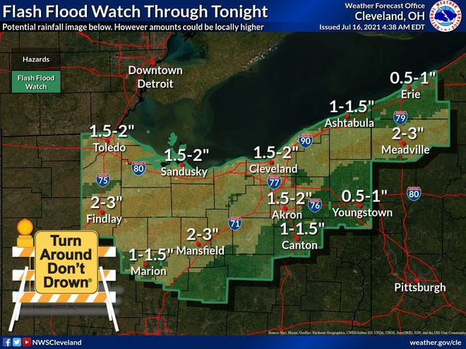 A flash flood watch is in effect through 8 a.m. Saturday for northern Ohio.