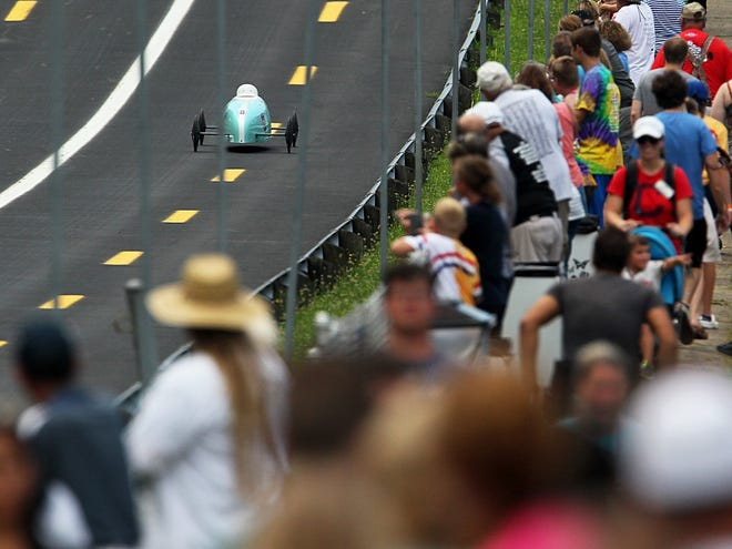 Derby fans watch the races during the All-American Soap Box Derby in 2019 at Derby Downs in Akron, Ohio.