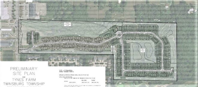 Sommers Development Group is seeking Twinsburg Township Zoning Commission approval for a housing development to be called Tynes Farm Luxury Lifestyle Community. The illustration shows the proposed layout of the subdivision. Darrow Road is at left, while the Woodlands subdivision is to the south and the Country Club of Hudson to the southeast.