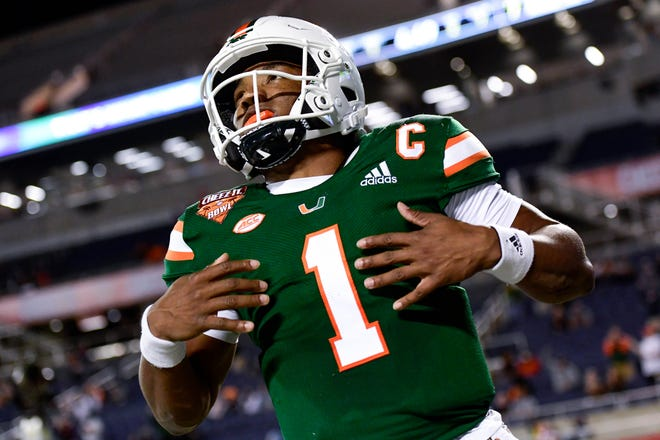 Miami quarterback D'Eriq King was severely injured during the Hurricanes' 37-34 loss to Oklahoma State in the Cheez-It Bowl, suffering a torn ACL.