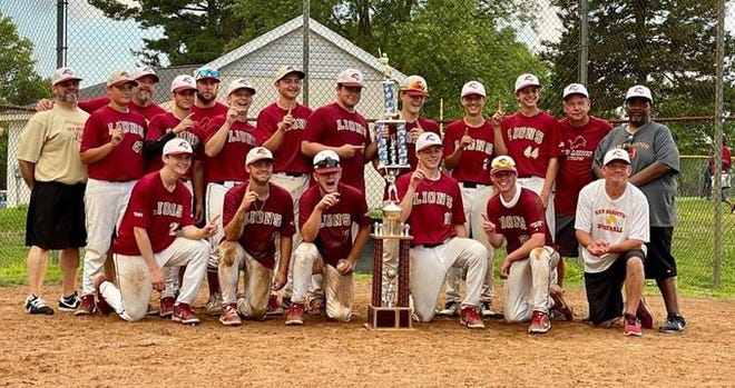 The New Brighton colt league team smiles after winning the Beaver County Championship on Monday.