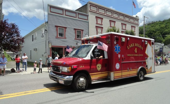 Lake Region EMS was second in line at the Hawley July 4th parade, behind the Hawley police car.