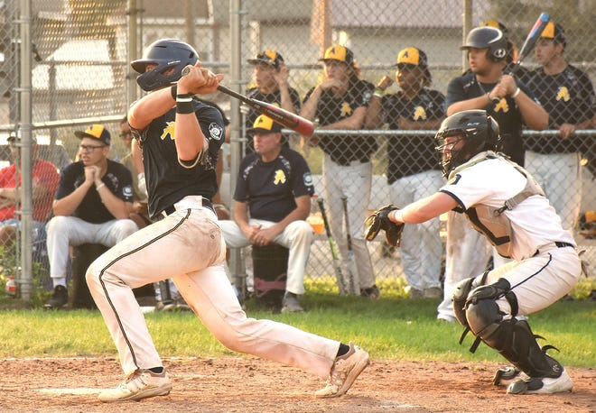Connor Lynch drove in the go-ahead run with his Adrean Post teammates looking on during the sixth inning of a Thursday, July 15, 2021, District V American legion baseball playoff game against Ilion Post at the Diss Memorial Athletic Complex in Ilion, New York.