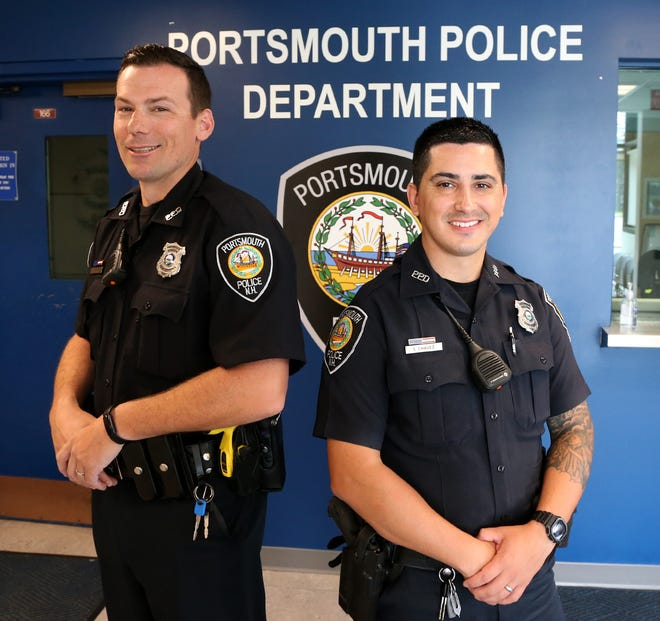 Portsmouth police officers Alex Mulcahey, left, and Seth Chavez are being praised for arresting a man who came at them with a knife without firing their weapons.