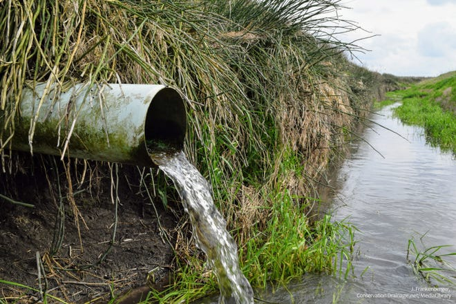 Water flows out of a tile drain and into a nearby ditch in Indiana. Although draining waterlogged fields improves crop growth, drainage water carries nitrate, a water contaminant.
