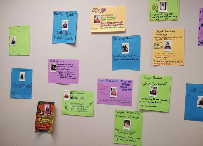 Posters from the Oglala Lakota Housing workshop showing the most-important parts of each participant's job.