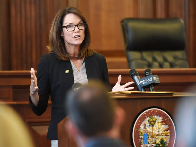State Attorney Melissa Nelson addresses the audience during the ceremony to release the findings of the Juvenile Justice Advisory Committee Thursday morning. Members of the legal system and the members of the Juvenile Justice Advisory Committee gathered in the ceremonial courtroom of the State Attorney's Office to release the final report of their findings Thursday, June 27, 2019. [Bob Self/Florida Times-Union]