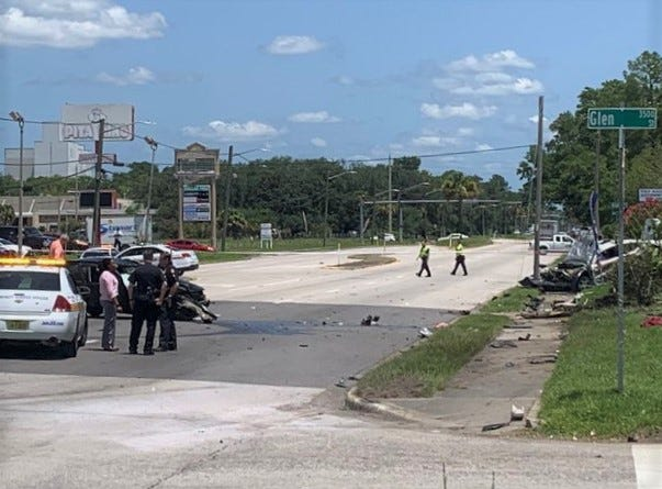 Carnage is left behind following Friday's deadly street-racing crash that killed a woman in another car on Edgewood Avenue North, according to Jacksonville police.