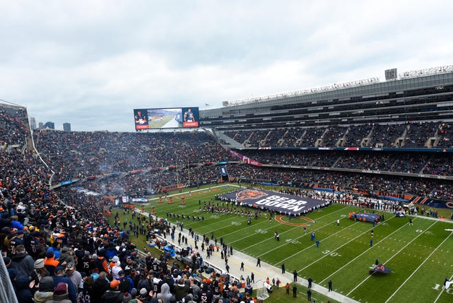 Fans wait for an NFL football game between the Chicago Bears and New York Jets to start on Oct. 28, 2018 at Soldier Field in Chicago. A potential move by the Bears from the lakefront stadium has been picking up steam in recent weeks.