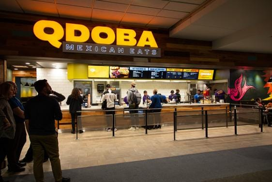 QDOBA Mexican Eats will open in August in GSP airport's Grand Hall. Pictured is a QDOBA Mexican Eats at Denver International Airport.