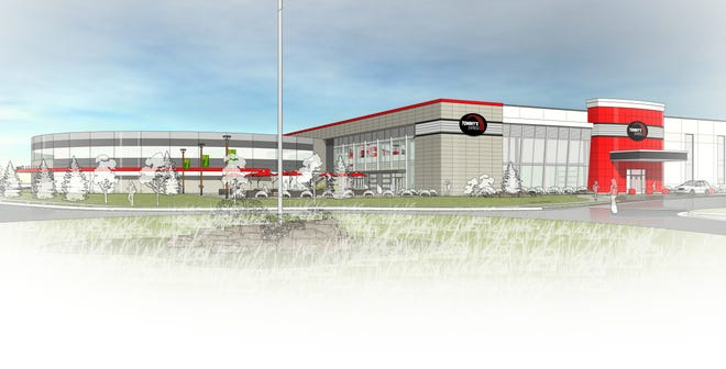 A rendering of the new Tommy's Express headquarters at Waverly Road and M-40 in Holland. The project will consolidate operations into a single 100,000-square-foot office and 200,000-square-foot warehouse.