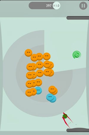Brickies, a variation of the classic Breakout game, has paddles at the top and bottom of the screen. Powerups give the brick-breaking ball addition power - a good thing since a time limit is involved at each level.