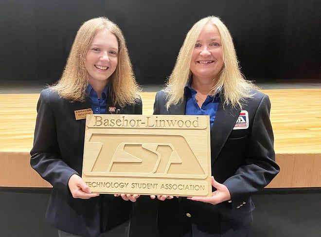Abby Otten, left, serves as the president of the Kansas State Technology Student Association. She is shown with TSA adviser Debby Jobe.