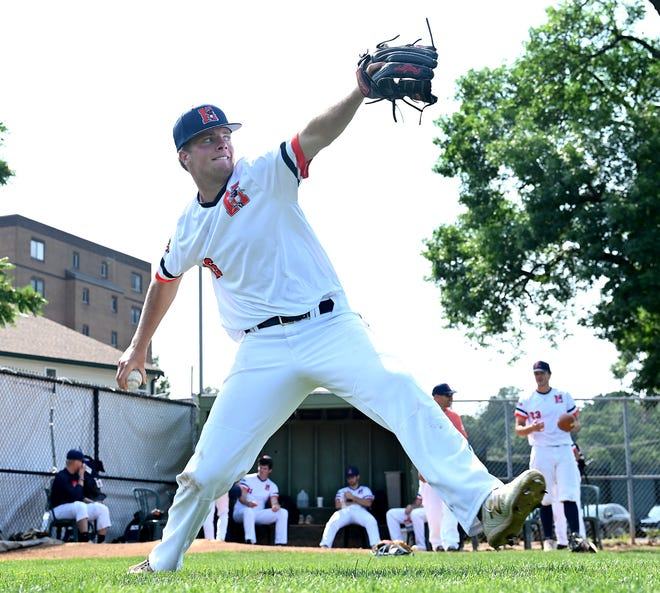 North Shore Navigators pitcher Jay Driver of Wellesley warms up prior to a New England Collegiate Baseball League game against the Upper Valley Nighthawks at Fraser Field in Lynn, July 15, 2021. The  Wellesley High School graduate is a rising sophomore at Harvard.