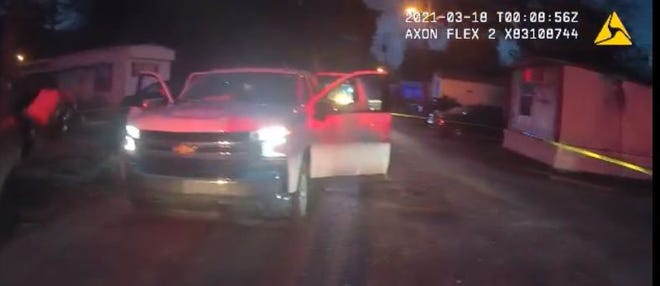 Body camera footage from the Okaloosa County Sheriff's Office shows the scene of a March 17 fatal shooting at  Capri Commons Mobile Home Park.