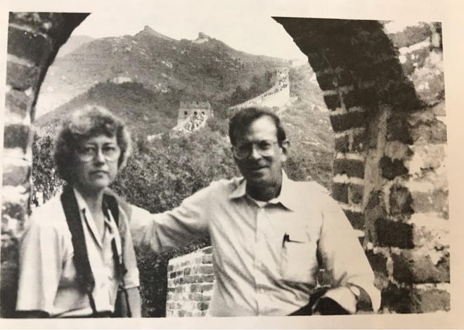 Linda and Budd Parrish are pictured at the Great Wall of China in an undated photo. The pair left .2 million to the Oklahoma Medical Research Foundation for Alzheimer's and cancer research.