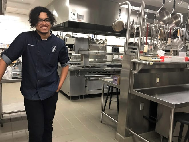 Chef Gabriel Lewis at the Francis Tuttle School of Culinary Art, where he graduated.