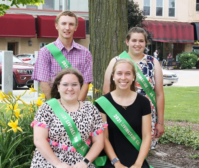The Livingston County Agriculture Fair opened today with the highlight of the evening being the crowning of the king and queen. This year's candidates are, in front from left, Mara Knobloch of the Waldo Peppy Club and Ainsley Kratochvil from Fairbury Prairie Farmers. In back are Christopher Corrigan and Vivienne Pratt, both of Graymont Achievers.