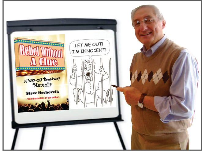 """Kennebunk writer-artist Steve Hrehovcik points to a poster with his book """"Rebel Without A Clue – A Way-Off Broadway Memoir"""" during his presentation at The Center."""
