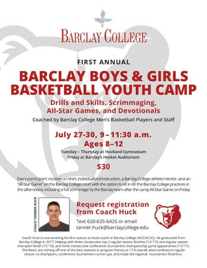 The first annual Barclay Boys and Girls Basketball Youth Camp will be held July 23-30.
