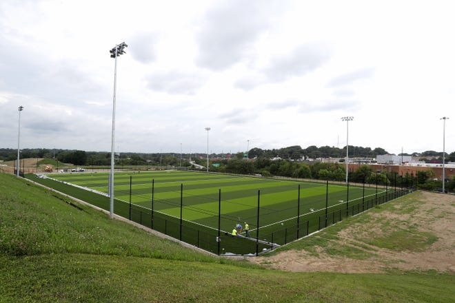 The first phase of Pioneer Park, Malone University's new athletic facility, is near completion.